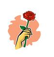 Holding Rose Flower vector image