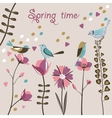 Spring flowers and birds vector image
