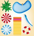 summer holidays beach elements pool waterbed surf vector image