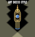 luxurious art deco jewel earring with blue gems vector image vector image