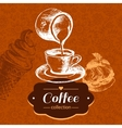 Vintage coffee background Hand drawn sketch vector image vector image