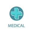 Medical logo abstract blue cross medicine design vector image