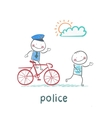Police riding a bike for a criminal vector image