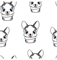 Seamless pattern with papillon puppies Colorful vector image