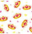 seamless pattern with cute princess crowns vector image