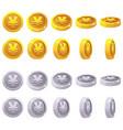 set of 3d metallic yen coin yuan symbol vector image