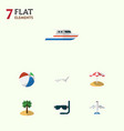 flat icon season set of aircraft deck chair boat vector image