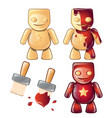 gingerbread or wooden human character in red color vector image