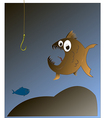 Fish looks at the hook vector image