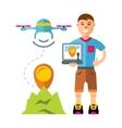 Man quadrocopter flight controls Flat vector image