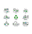 set of recycling icons in line design recycle vector image