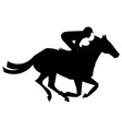 Jockey riding on horseback vector image