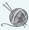 Ball of yarn and needles vector image vector image