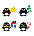 Christmas cute penguin icons set vector image vector image
