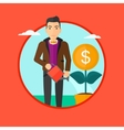 Man watering money flower vector image
