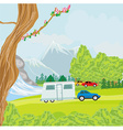camping over waterfall vector image