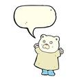 funny cartoon polar bear with speech bubble vector image