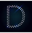 Gems D letter Shiny diamond font vector image