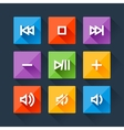 Set of media player buttons in flat design style vector image vector image