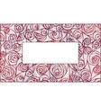 Fresh pink roses frame border isolated on white vector image