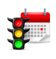 Traffic lights and calendar vector image