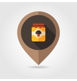 Mushroom canned flat mapping pin icon vector image