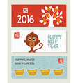 Chinese New Year 2016 monkey banner set cute vector image