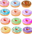 set of colored donuts with icing vector image vector image