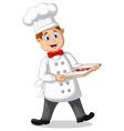 Cartoon Chef holding italian original Pizza vector image