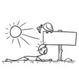 cartoon of man crawling in the desert found a vector image
