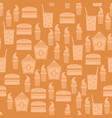 fastfood silhouette seamless pattern vector image