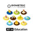 Isometric flat icons set 16 vector image