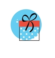Line Icon with Flat Graphics Element of Gift Box vector image