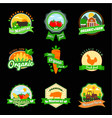 stevia and organic food label set farm fresh vector image