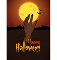 Halloween The hand of the zombie sticks out above vector image