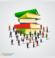people crowd around book stack vector image