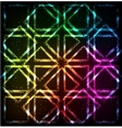 Shining neon lights rainbow squares background vector image