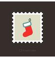 Christmas socks flat stamp vector image