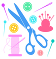 Colorful sewing icons collection vector image