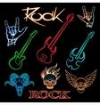 neon rock vector image