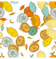 seamless pattern with lemons with leaves vector image