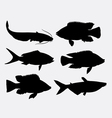 Fish animal silhouette 1 vector image vector image