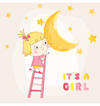 Baby Girl Climbing on a Moon - Baby Shower Card vector image