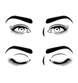 Close and open eyes of beautiful woman long vector image vector image