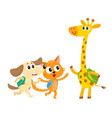 Cute animal student characters cat dog and vector image