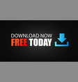 free download button with icon and striped black vector image