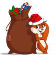 christmas bag squirrel vector image vector image