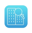 Condominium and magnifying glass line icon vector image vector image