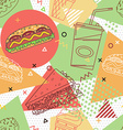 Fast food seamless pattern Trendy geometric vector image