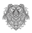 bear with abstract floral ornament vector image